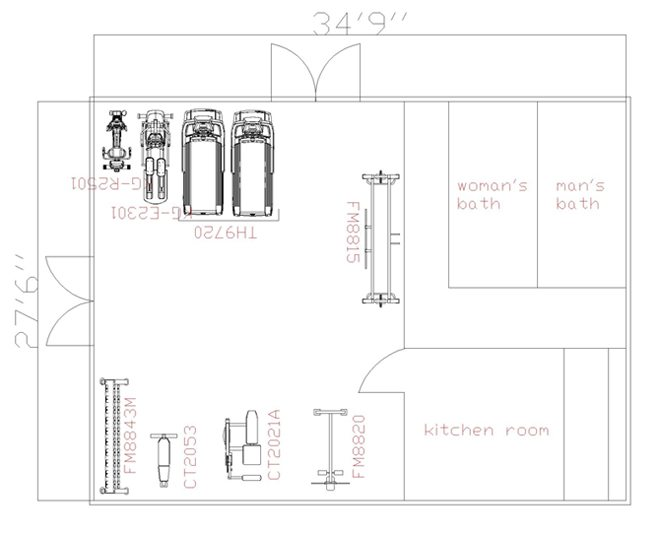 963 square foot room for 3000 sq ft gym layout